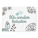 15 x Save the Date Karten mit Umschlag/Wir werden heiraten - grafisch türkis/Hochzeit/Liebe/Heirat/Einladung