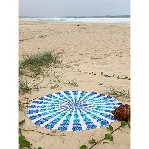 Tapiz/manta/mantel/mantel para picnic o playa, redondo, mandala indio, algodón Bhagyoday