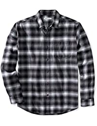 Amazon Essentials Men's Regular-Fit Long-Sleeve Plaid Flannel Shirt, Black Ombre Plaid, X-Small
