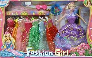 Allkindathings - Muñeca de Moda para niños de 10 Pulgadas con 8 Vestidos y Accesorios para niñas