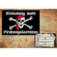Piraten Einladungskarten zum Kindergeburtstag für Jungen | Geburtstagseinladungen für Kinder zur Piratenparty | Set: 8 Stück/Einladungen