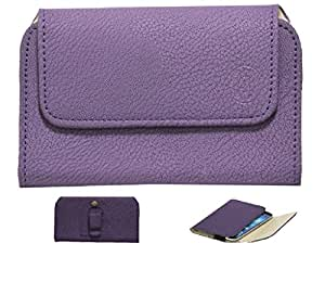 Jo Jo A4 G8 Belt Case Mobile Leather Carry Pouch Holder Cover Clip For Swipe Konnect 5.0 Purple