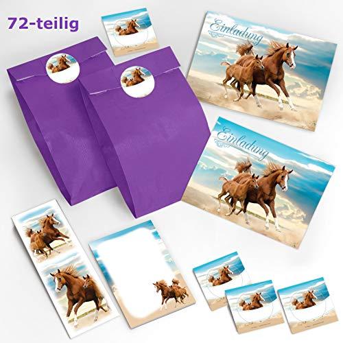 12 Einladungskarten zum Kindergeburtstag Pferd / Fohlen / zwei Pferde / schöne und bunte Einladungen für Mädchen incl. 12 Umschläge, 12 Party-Tüten / lila, 12 Aufkleber, 12 Lesezeichen, 12 Notizblöcke