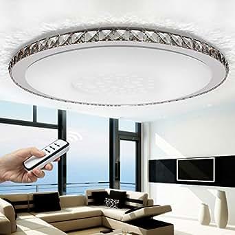 Stylehome plafonnier moderne en cristal de nouvelles jX 828 ø 800 mm 80 w intensité variable via télécommande mode module nuit inclus