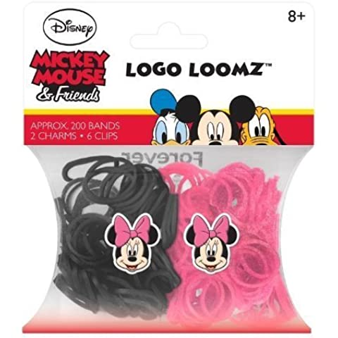 Hit Entertainment Licensed Logo Loomz Filler Loom Bands & 2 Charm Pack - Disney, DC Comics & More! (Disney Minnie Mouse) by Forever Collectibles