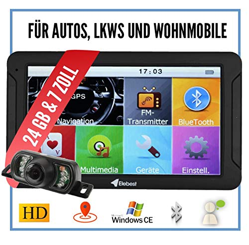 Elebest City 70K Navigationsgerät PKW, LKW, Wohmobil - Funk Rückfahrkamera, Großes 7 Zoll (17,8 cm) Touchscreen HD Display - 24 GB, Fahrspurassistent, Bluetooth - Radarwarner, EU Karte, Inkl Halterung
