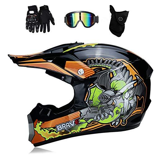 Preisvergleich Produktbild MRDEER® Feuerdrache Motocross Helm Adult Off Road Helm Unisex Motorradhelm Cross Helme Schutzhelm ATV Helm für Männer Damen Sicherheit Schutz,  mit Handschuhe Maske Brille,  Futter abnehmbar, M
