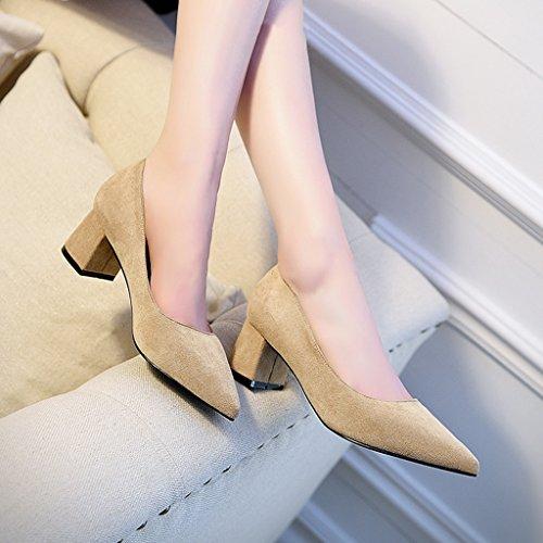 HWF Chaussures femme Printemps Bouche Peu Profonde Simple Talons Épais Pointu Chaussures Femmes Commuter Chaussures à talons hauts Femme ( Couleur : Noir , taille : 39 ) Apricot Color