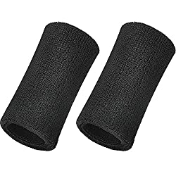 Willbond 6 Inch Wrist Sweatband Sport Cuffs Elastic Athletic Cotton Bracelet for Sport, 2 Set (Schwaz)