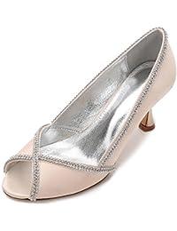 L@YC Zapatos de Boda de Las Mujeres E17061-14 Sandalias de Tacón Bajo Peep Toe Satin Heel Costura de Diamantes de Encaje