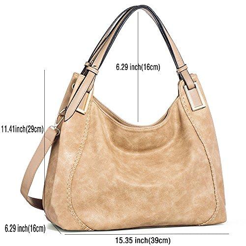IN ANGEL Handtasche Damen Henkeltasche Umhängetasche Crossbody Hobo Tasche Schultertasche Damen PU Leder Handtasche für Frauen (L39cm * W16cm * H29cm) 6-Aprikose