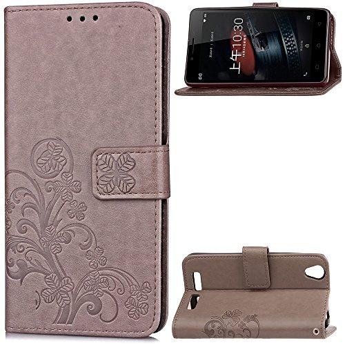 EKINHUI Case Cover Double Magnetic Back Sucktion Retro Style PU Leder Flip Stand Case mit Kickstand und Wallet Pouch Funktion für Lenovo K10 ( Color : Purple ) Gray
