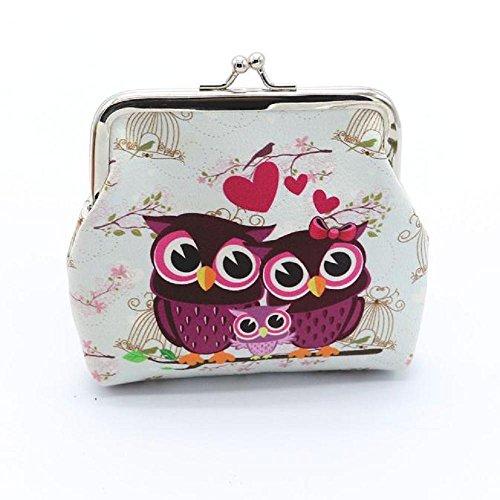 Mini Täschchen Piebo Frauen Portemonnaie Mädchen Clutch Brieftasche Retro Eulen Mini Geldbörse Haspe Kupplung Münzbeutel Kartenhalter Handtaschen (D)