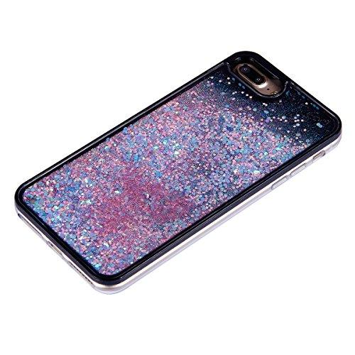 iPhone 7 Plus Custodia,iPhone 7 Plus Cover, JAWSEU 3D Creativo Disegno Lusso Fluente liquido Sparkle Glitter Bling Amore cuore lustrino Protettiva Case Rigida Nero Copertura per iPhone 7 Plus 5.5 Scin Bling Rosa