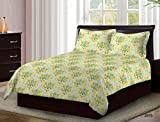 Bombay Dyeing Cardinal 100% Cotton Double Bedsheet with 2 Pillow Covers- With Beauthiful Floral Printed Design White And Blue Color TC-104 … (Yellow)