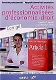 Activités profesionnalisées d'économie-droit Tle Bac Pro tertiaire : Corrigé