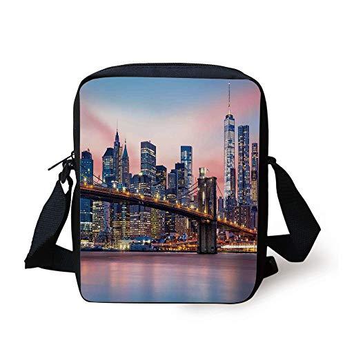 Lower Manhattan Skyline (New York,Brooklyn Bridge and Lower Manhattan Skyline Under Pink Sunrise Long Exposure Art Image,Blue Print Kids Crossbody Messenger Bag Purse)