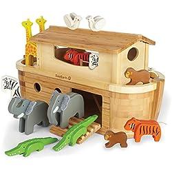 EverEarth EE33773, Arca de Noé gigante con 14 animales de bambú y madera