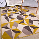 The Rug House Tapis de Salon Traditionnel Milan Motif géométrique kaléidoscope Jaune Moutarde Ocre Gris Beige 120cm x 170cm (3'11' x 5'7')