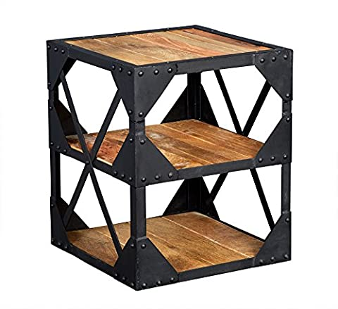Rajasthan Industrial Side Table Multi Media Cabinet 3 Shelves Natural Wood And Metal Frame