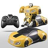 MEILA Robot Garçon Jouet Voiture Électrique Mur Aspirateur Télécommande Voiture De Course De Mur De Grimpe Deformable (Color : Yellow)