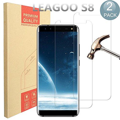 [2Pack] Leagoo S8Protector de pantalla, Pulen Premium cristal templado de alta calidad protector de pantalla anti-Bubble Shield de 0,33mm 9H Dureza transparente resistente a arañazos Bubble-free y antihuellas para Leagoo S8