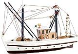 Playtastic Modellbau Bausatz: 40-teiliger Schiff-Bausatz Fischkutter aus Holz (Schiffsmodelle)