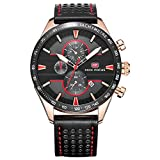 Mini Focus Herren Fashion Analog Quarz echtem Lederband Uhren für MAN CLASSIC Armbanduhr für Herren Jährliche 2018Rot