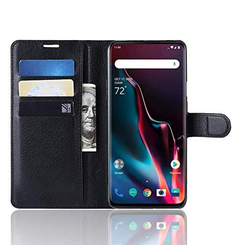Jamicy® Hülle für OnePlus 7 Pro, Ultra Slim Premium PU Leder Flip Wallet Tasche mit Kartenfach und Ständer für OnePlus 7 Pro 2019 Smartphone (Schwarz) Mobile Kreditkarte