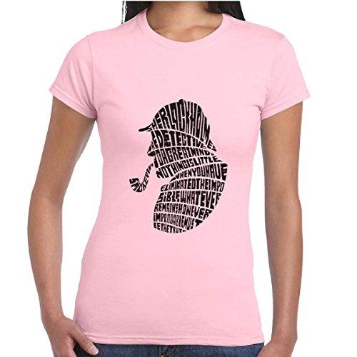 T-Shirt Donna Maglia Vintage Maniche Corte Cotone Con Stampa Sherlock Holmes, Colore: Rosa, Taglia: XS