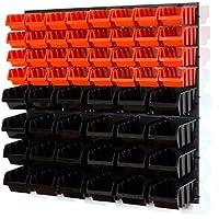 60piezas estante de pared almacenamiento Garaje Estantería para cajas apilables (Talla 2, 3, color naranja negro
