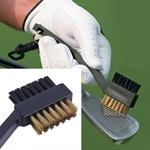 Tamlltide Reinigungsbürste für Golfschläger, Doppelborsten, Schwarz