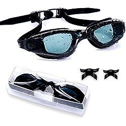 Gafas de Natación Profecional - Antiniebla,Hermético, Ajustable, Protección UV para Hombres y Mujeres con Caballete Mediano, regalar Clip para la Nariz y Tapones para los Oídos(Negro)