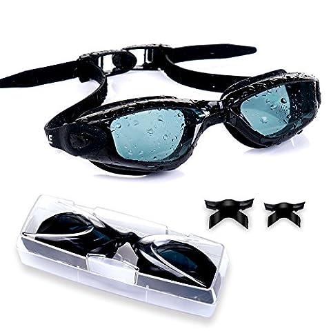 Schwimmbrille Vsllcau Swimming Goggles Erwachsene mit Nase-Brücken von 3 Größen Nasenklammer Ohrstöpsel verstellbarem Kopfband 180 ° Weitwinkel SichtUV- & Nebel-Schutzfür Herren, Damen (Schwarz)