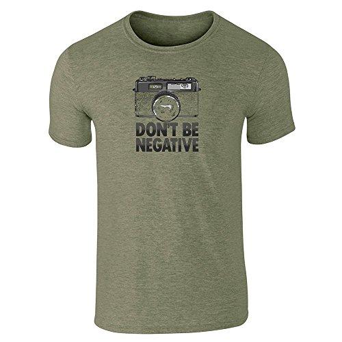 pop-threads-mens-dont-be-negative-retro-camera-heather-military-green-m-short-sleeve-t-shirt