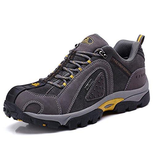 TFO Herren Wasserdichte Trekkingschuhe & Wanderschuhe Anti-Rutsch Bergschuhe & Outdoor Schuhe mit Atmungsaktiver Einlegesohle, Grau, 45 EU(Hersteller-GRÖSSENTABELLE IM PRODUKTBILD BEACHTEN)