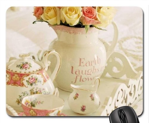 Tea Time and Roses Mouse Pad, Mousepad (Flowers Mouse Pad) -