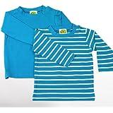 Baby Langarm Shirts, 2-teiliges Bekleidungs Set - aquatürkis uni + weiße Ringelstreifen - 2er Set Sommer T-Shirts Zweierpack für Mächen od. Jungen, 100% Öko-Tex Baumwolle von DIMO, Gr. 50/56, 62/68 -