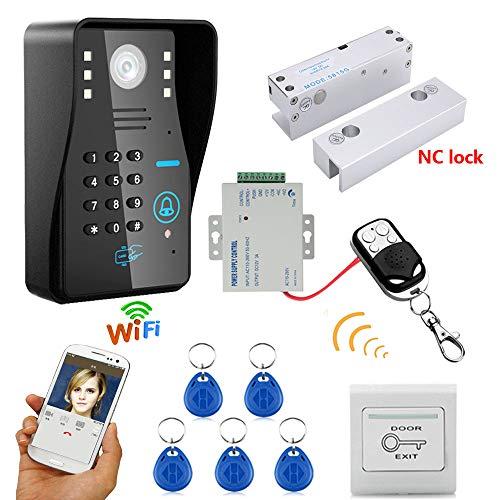 Wi-Fi Enable Video Doorbell HD 720P Wireless RFID Password Video Door Doorbell Intercom System Night Vision + Electric Bolt Lock Frameless Glass Door NC