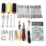 LaceDaisy 48 Stück Leder Handwerk Werkzeuge Handnähen Tool Kit Nähen Werkzeug Ahle Fingerhut Gewachst Thread
