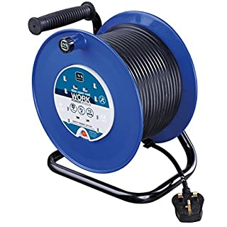 Masterplug HDCC4013/4BL 13amp 4 Socket 40m Open Cable Reel - Blue