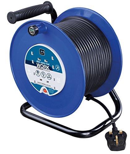Masterplug HDCC4013/4BL Kabeltrommel, Stromverteiler mit 4 Steckdosen, 13 A, mit Thermowächter und Reset-Knopf, 40 m