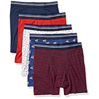 Amazon Essentials Men's 5-Pack Tag-Free Boxer Briefs, Summer Fun, Medium