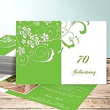 Einladungskarte 70 Geburtstag, Blütenkarte Mit Foto 70 5 Karten, Horizontal  Einfach 148x105 Inkl.