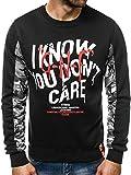 OZONEE Sweatshirt Herren Pullover Aufdruck Motiv Camouflage Crewneck Modern Streetwear Sport Langarmshirt 777/287B SCHWARZ XL