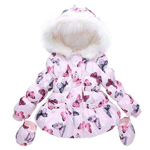 ZILucky Baby Mädchen Kinder Parka Jacke Kinderjacken Mädchenjacke Mantel mit Kapuzen Outwear für Herbst Winter (80-86, Rosa)
