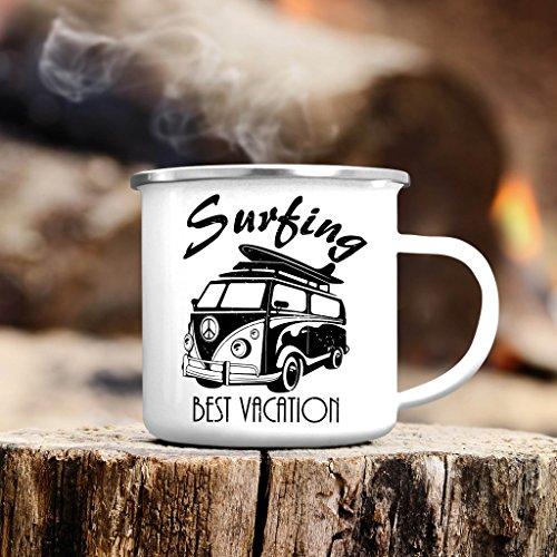 """Campingbecher Bulli """"Best Vacation"""" mit Surfbrett von Wandtattoo-Loft® / Emaille Tasse / Becher mit Motiv / silberner Tassenrand"""