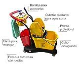 Clim Profesional Carro de fregado Completo Profesional CLIM Compact. Sistema de fregado Profesional con Prensa, Doble cubeta Auxiliar, cestillo para Accesorios, Barra y Ruedas de Transporte