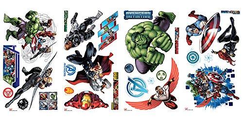Thedecofactory 539122 Marvel Avengers Hulk Thor Captain America 28 Stick, Vinyle, Multicolore, 104 x 26 x 2,5 cm