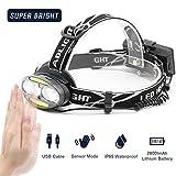 Jirvyuk LED Stirnlampe, 5 Modi, Wasserdicht, 6000LM, Bewegungs sensor, Perfekt fürs Sport,Laufen,Joggen, Radfahren und Outdoor